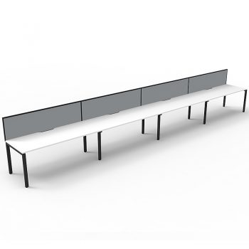 Supreme Desk, 4 Person In-Line, White Desk Tops, Black Under Frame, with Grey Screen Dividers