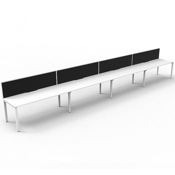 Supreme Desk, 4 Person In-Line, White Desk Tops, White Under Frame, with Black Screen Dividers