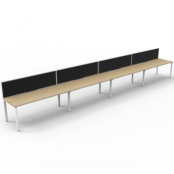 Supreme Desk, 4 Person In-Line, Natural Oak Desk Tops, White Under Frame, with Black Screen Dividers