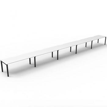 Supreme Desk, 5 Person In-Line, White Desk Tops, Black Under Frame, No Screen Dividers