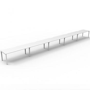Supreme Desk, 5 Person In-Line, White Desk Tops, White Under Frame, No Screen Dividers