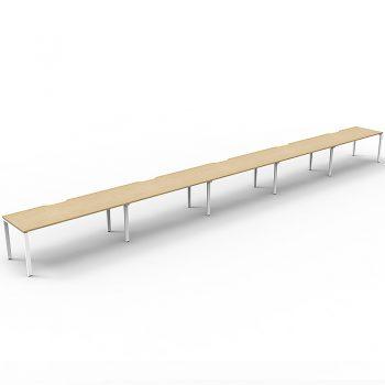 Supreme Desk, 5 Person In-Line, Natural Oak Desk Tops, White Under Frame, No Screen Dividers