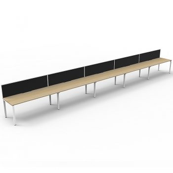 Supreme Desk, 5 Person In-Line, Natural Oak Desk Tops, White Under Frame, with Black Screen Dividers