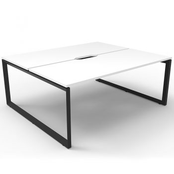 back to back black and white desks