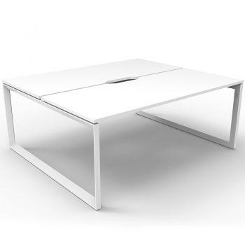 back to back white desks