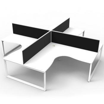 Four white computer desks