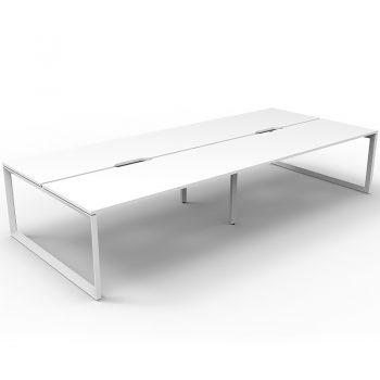 white desk group pod, no divider