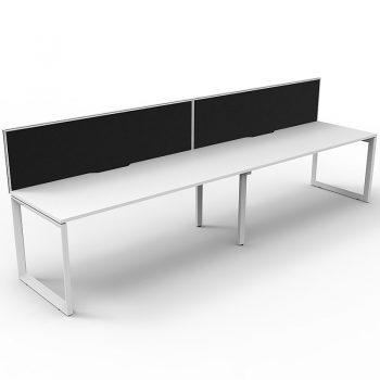white anvil desks with white frames