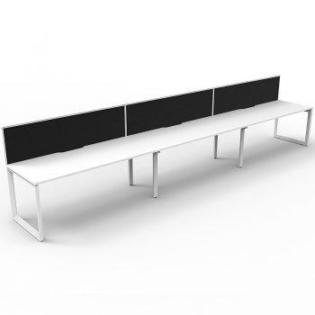 3 attached white anvil desks
