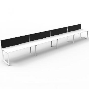 4 white desks in-line