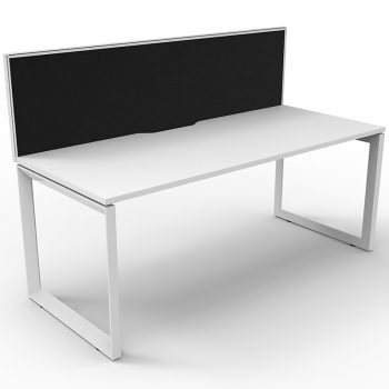 white desk and divider