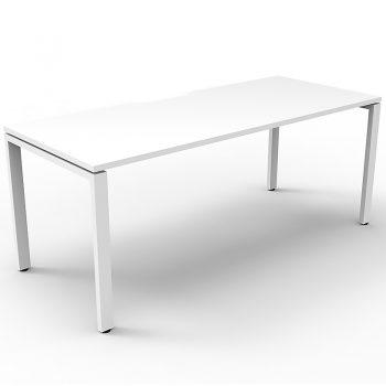 Supreme Single Desk, White Desk Top, White Under Frame, No Screen Dividers