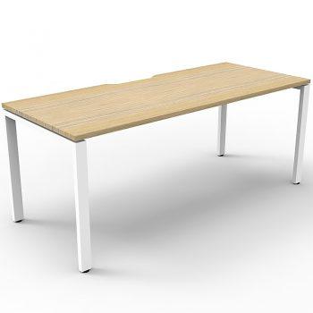 Supreme Single Desk, Natural Oak Desk Top, White Under Frame, No Screen Dividers