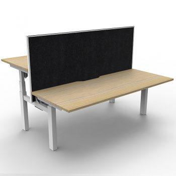 back to back electric sit stand desks, with black divider