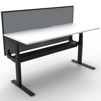 White sit stand desk with desk divider