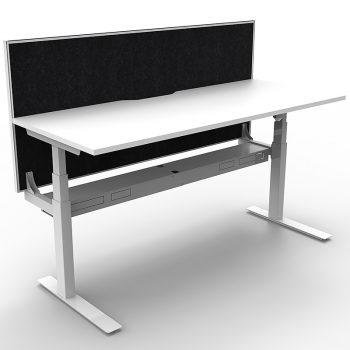 Sit stand desk with desk divider