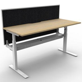 Oak sit stand desk with desk divider