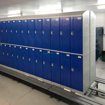 Blue plastic school lockers