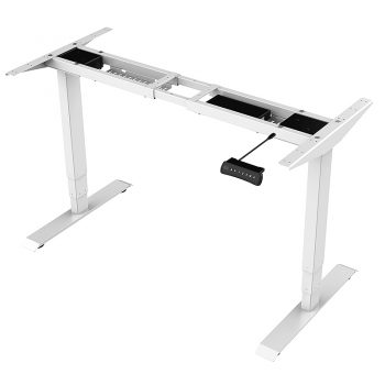 White sit stand desk frame