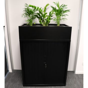 Black tambour unit with planter box