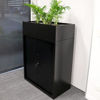 tambour unit with planter box, black