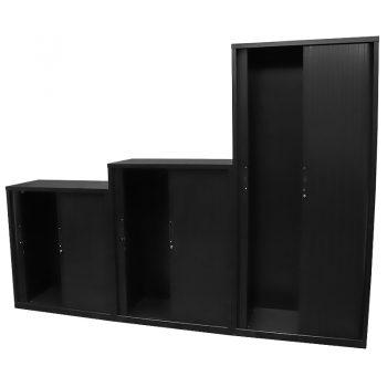 Black tambour door cabinets