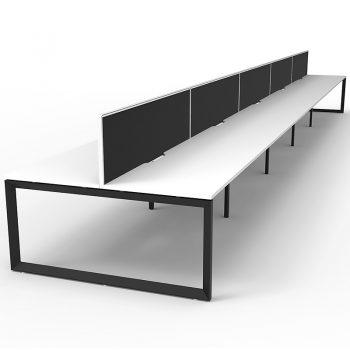 white back to back desks