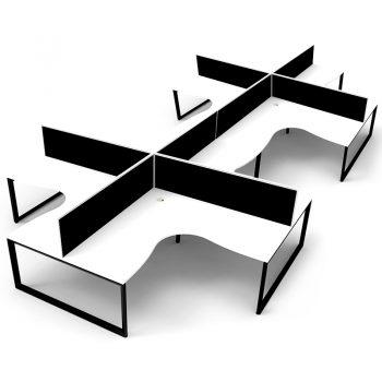 Supreme Loop Leg 8-Way Corner Workstation, White Desk Tops, Black Under Frames, with Black Screen Dividers