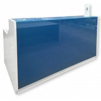 Vitric Reception Desk, Blue Glass Front