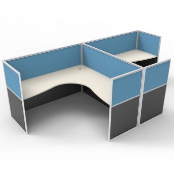 Smart 2 Way Back to Back Corner Workstation Pod, with Blue Screen Dividers