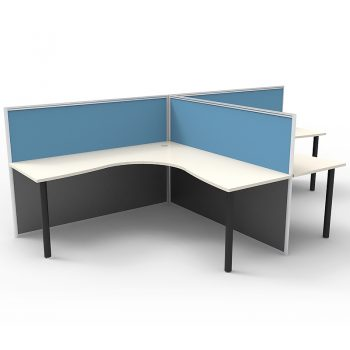 Smart 2 Way Back to Back Corner Workstation Pod, with Blue Screen Dividers, no End Screens