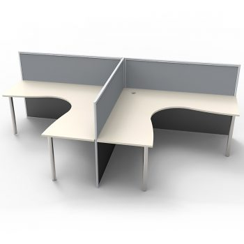Smart 2 Way Back to Back Corner Workstation Pod, with Grey Screen Dividers, no End Screens