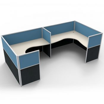 Smart 2 Way Corner Workstation Pod, with Blue Screen Dividers