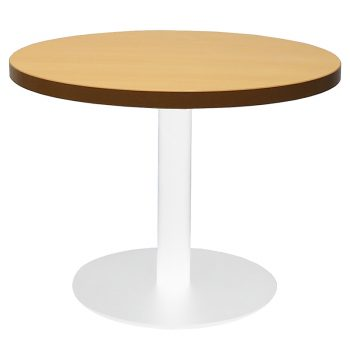 Vogue Round Coffee Table, Beech Table Top, White Table Base