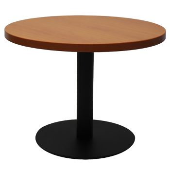 Vogue Round Coffee Table, Cherry Table Top, Black Table Base