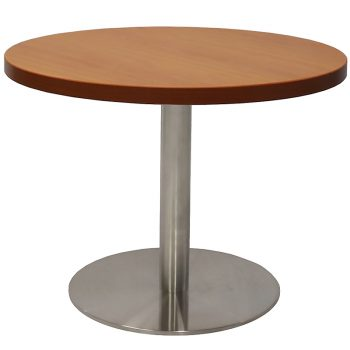 Vogue Round Coffee Table, Cherry Table Top, Stainless Steel Table Base