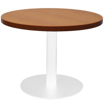 Vogue Round Coffee Table, Cherry Table Top, White Table Base