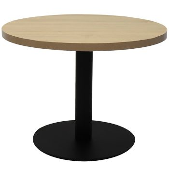 Vogue Round Coffee Table, Natural Oak Table Top, Black Table Base