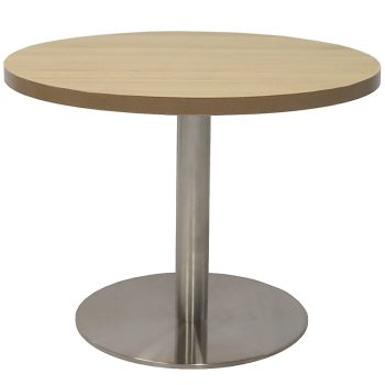 Vogue Round Coffee Table, Natural Oak Table Top, Stainless Steel Table Base