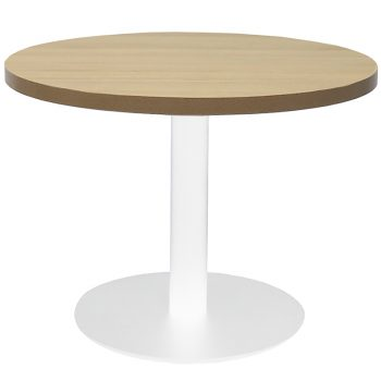 Vogue Round Coffee Table, Natural Oak Table Top, White Table Base