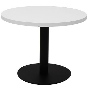 Vogue Round Coffee Table, White Table Top, Black Table Base