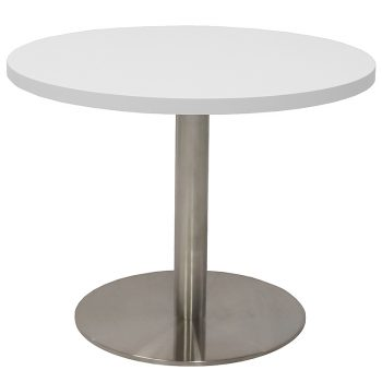 Vogue Round Coffee Table, White Table Top, Stainless Steel Table Base