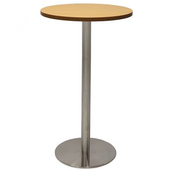 Vogue Round High Table, Beech Table Top, Stainless Steel Table Base
