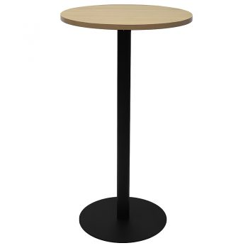 Vogue Round High Table, Natural Oak Table Top, Black Table Base