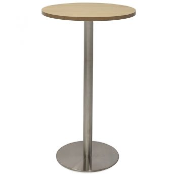 Vogue Round High Table, Natural Oak Table Top, Stainless Steel Table Base