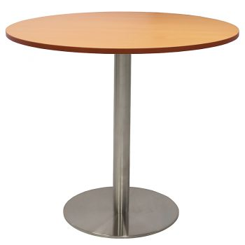 Vogue Round Meeting Table, Beech Table Top, Stainless Steel Table Base