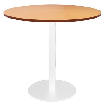 Vogue Round Meeting Table, Beech Table Top, White Table Base