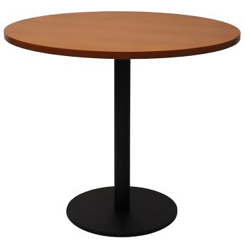 Vogue Round Meeting Table, Cherry Table Top, Black Table Base