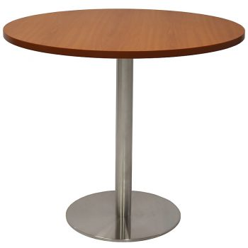 Vogue Round Meeting Table, Cherry Table Top, Stainless Steel Table Base