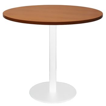 Vogue Round Meeting Table, Cherry Table Top, White Table Base